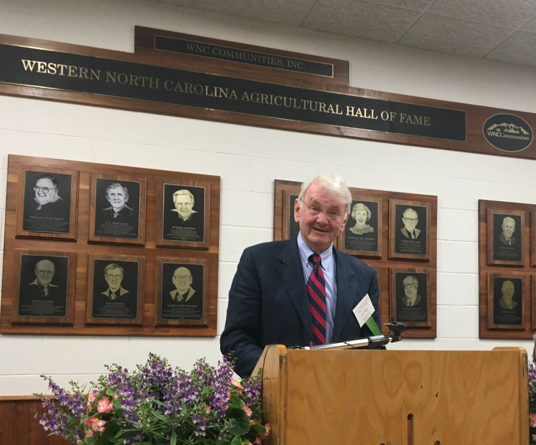 L.T. Ward accepting 2019 WNC Ag Hall of Fame Honor